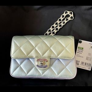 NEW Chanel 21K Mini Iridescent Bag Wristlet Clutch